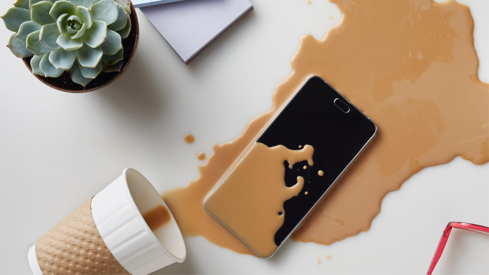 Coffee spilled on phone